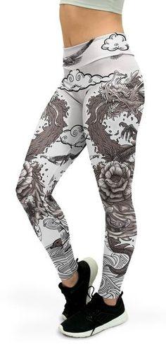 8a08c014c3 B&W Tattooed Dragon Yoga Pants. Shoes With LeggingsGym LeggingsWorkout ...