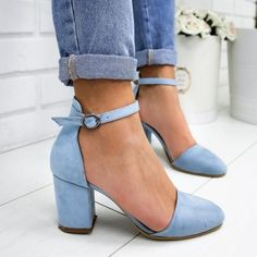 Heels Chunky Heel Ankle Strap Sandals Plus SIzes - schuhe -Women Closed Toe Heels Chunky Heel Ankle Strap Sandals Plus SIzes - schuhe - Blue Round Toe Chunky Fashion High-Heeled Sandals Round Toe Ankle Strap Block Heel Truffle Collection Rain Boots Fashion, Fashion Heels, Ankle Strap Sandals, Heeled Sandals, Ankle Straps, Ankle Boots, T Strap Heels, Ankle Heels, Sandals Outfit