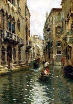 Rubens Santoro (1859-1942) Excursion to a Venetian canal
