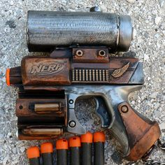 Steampunk Nerf Gun, this is actually what my gun looks like. Some good ideas!