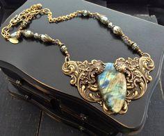 FUF 9/18/2015 Labradorite Statement Necklace, Art Nouveau Necklace, Romantic Jewelry, Vintage Style Necklace, Victorian Necklace, Artisan Jewelry - pinned by pin4etsy.com