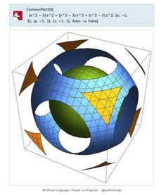 ContourPlot3D[(x^2-5)x^2+(y^2-5)y^2+(z^2-5)z^2,{x,-1,1},{y,-1,1},{z,-1,1},Axes->False]