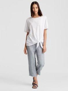 192e1ae74de6ff Yarn-Dyed Organic Handkerchief Linen Straight Cropped Pant-S8YLO-P3952