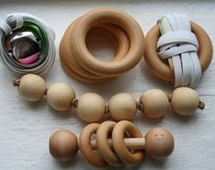 Wooden Baby Rattle Wooden Teething Ring - Set of Three Baby Grasping Beads Hanging Toy Set: Bell and Ring Classic Montessori materials, handmade from birch and finished with beeswax and olive oil. Wooden Baby Rattle, Wooden Baby Toys, Montessori Baby Toys, Montessori Education, Montessori Activities, Toddler Toys, Kids Toys, Wooden Teething Ring, Montessori Materials