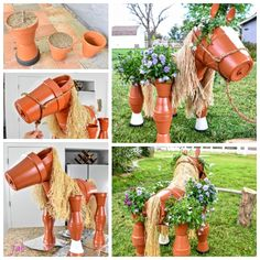DIY Flower Clay Pot Horse Gardening Planters Tutorial - Lori Home Clay Pot Projects, Clay Pot Crafts, Diy Clay, Jar Crafts, Bottle Crafts, Shell Crafts, Flower Pot Art, Clay Flower Pots, Flower Pot Crafts