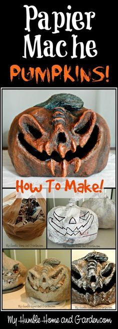 Papier-mâché - Pumpkins How To Make diy halloween, halloween decorations kids, halloween diys projects - Pumpkins How To Make Halloween Tags, Kawaii Halloween, Halloween Projects, Diy Halloween Decorations, Holidays Halloween, Vintage Halloween, Halloween Pumpkins, Diy Halloween Props, Diy Halloween Village