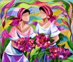 Filipino Art  Two Marias by CrossStitchRinna on Etsy, $12.00