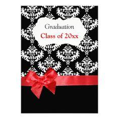 Black Damask and Red Ribbon Graduation Invitation