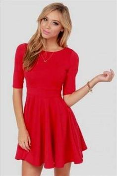 Nice red skater dresses for juniors 2018/2019 Check more at http://myclothestrend.com/dresses-review/red-skater-dresses-for-juniors-20182019/