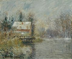 The House by the Water, Snow EffectbyGustave Loiseau