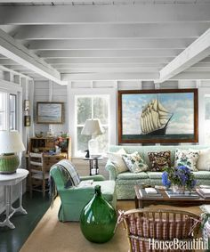 "Designer Libby Cameron's Maine cottage is "" perfect ""! Classic, understated and full of family treasures, this cottage would make any M. House Design, Cottage Style, Home, Coastal Living Room, Summer House, Cottages By The Sea, Coastal Living Rooms, Maine Cottage, Cottage Interiors"