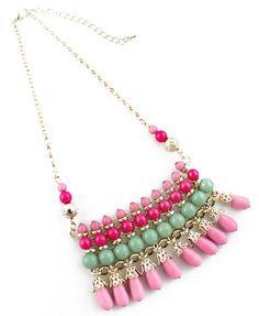 Multi Bead Tassel Gold Chain Necklace