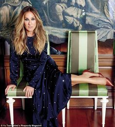 Midnight blue: Sarah paired all the stunning dresses with colourful pumps from her new line of SJP shoes
