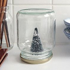This super easy DIY project is not just for Christmas! It's a snow globe, Anthro style, without water.