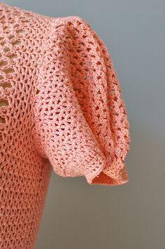 crochet dress / 1930s dress / 30s knit dress / Coral от DearGolden
