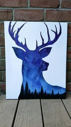 Night sky painting, acrylic painting, deer art, wildlife art, space painting…