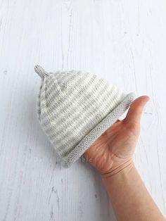 Hand knitted baby hat  stripe baby beanie  merino wool hat