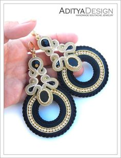 Soutache Earrings Gold Earrings Handmade Statement by AdityaDesign Soutache Necklace, Beaded Earrings, Beaded Jewelry, Handmade Necklaces, Handmade Jewelry, Jewelry Accessories, Women Jewelry, Black Gold Jewelry, Round Earrings