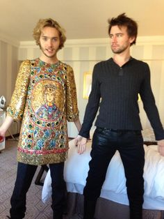 Toby Regbo & Torrance Coombs ~ Reign. Toby is wearing Adelaide's dress haha! I have no idea what they are doing <<< I love Bash.