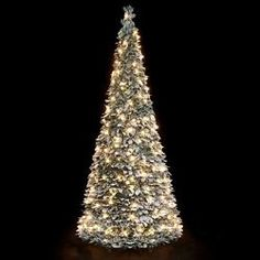 Pre Lit Snow Flocked Pop Up Christmas Tree 1.8m (200 Warm White Lights)