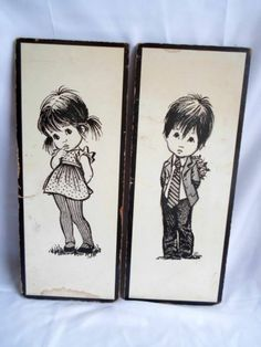 LEE Big Eyed Eye Kids Wall Art Vintage Black White Boy Girl Set 2 Retro Large 60