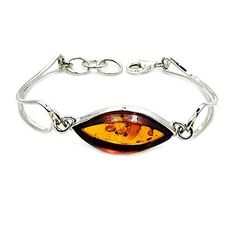 Charming Sterling Silver Natural Baltic Amber Bracelet, 6.5-7  Price : $99.95 http://www.silverplazajewelry.com/Charming-Sterling-Silver-Natural-Bracelet/dp/B00NIVG322
