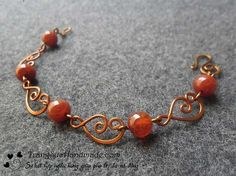 Hàng cao cấp - Trang sức handmade - pretty links--bracelet with swirly links and one kind of bead. Copper Jewelry, Beaded Jewelry, Beaded Bracelets, Copper Wire, Wire Jewellery, Leather Jewelry, Wire Necklace, Wire Earrings, Necklace Ideas