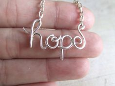 Hope Necklace Silver Wire Wrapped Necklace Wire Word Jewelry Personalized Necklace Wire Wrap Jewelry Gifts under 20 on Etsy, $17.95