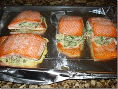 Spinach and Feta Stuffed Salmon Stuffed salmon with spinach and cream cheese fat free Baked Salmon Recipes, Fish Recipes, Seafood Recipes, Cooking Recipes, Healthy Recipes, Salmon Spinach Recipes, Recipies, Cooking Tips, Dinner Recipes