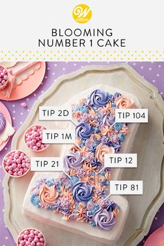 Whether it's a first birthday or a one-year anniversary, this Blooming Number 1 Cake is a great way to celebrate your big day. Made using a shaped cake pan, then decorated with various rosettes, mums and stars, this cake is a sure to be a party-pleaser. Creative Cake Decorating, Cake Decorating Techniques, Creative Cakes, Cookie Decorating, Wilton Cake Decorating, Icing Tips, Frosting Tips, Cake Icing, Buttercream Cake