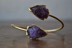 Lux Divine Amethyst Arrowhead Bracelet /// Gold by luxdivine@etsy.com
