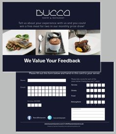 Bucca comment card