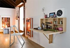 Folding furniture and also multifunctional furniture is often a solution for lack of space. Folding furniture saves space in two ways - either a single Folding Furniture, Folding Walls, Space Saving Furniture, Folding Desk, Kitchen Furniture, Furniture Ideas, Furniture Nyc, Folding Chairs, Cheap Furniture