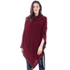 Suede Studded Cowlneck Poncho