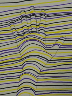 This is a simple lesson that will introduce students to Op Art. They will use line to create a drawing that gives the illusion of a hand popping out of the drawing. Different color schemes can also be used. In my lesson we were also learning about complementary colors.
