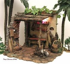 "FONTANINI ITALY 5"" LIGHTED CARPENTER'S SHED NATIVITY VILLAGE BUILDING 50509 BOX"