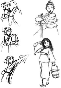 Concept art and profile sketches of Mulan as Ping from