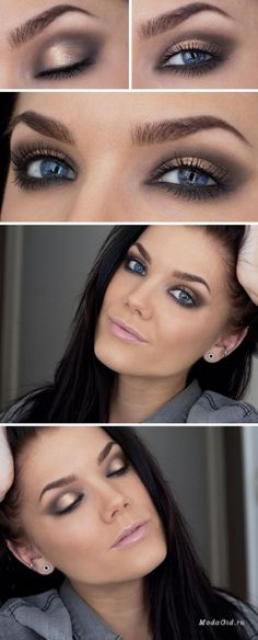 Make-up Smokey Eyes für blaue Augen - Makeup Tips For Dark Circles Beauty Make-up, Beauty Hacks, Hair Beauty, Beauty Tips, Natural Wedding Makeup, Wedding Hair And Makeup, Natural Makeup, Natural Eyes, Blue Eye Makeup