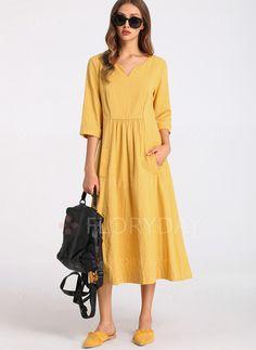 Pamuk Polyester Orta boyda gündelik 3/4 Kollu Katı Elbiseler - Floryday