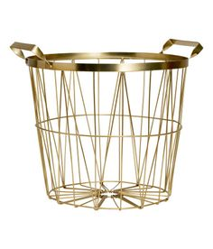 Check this out! Metal wire basket with handles at top. Height 9 1/2 in., diameter at top 11 in. - Visit hm.com to see more.
