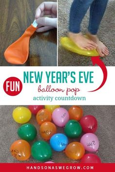 New Year's Eve Exciting Activities for Kids Balloon Pop Countdown New Year's Eve Activities, Winter Activities For Kids, Christmas Activities, Christmas Fun, Countdown For Kids, New Years Countdown, Toddler Preschool, Preschool Activities, Projects For Kids