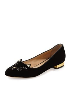 Kitty Velvet Cat-Embroidered Flat, Black/Gold by Charlotte Olympia at Neiman Marcus.