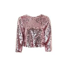 Topshop Sequin Bow Back Top ($26) ❤ liked on Polyvore featuring tops, blouses, pink, bow blouse, party crop tops, long sleeve blouse, pink top and pink crop top