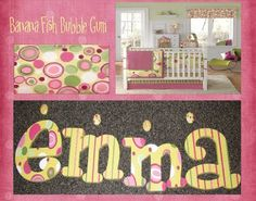 Hand Painted Wooden Letters M2M Banana Fish Bubble Gum  www.funkyletterboutique.com