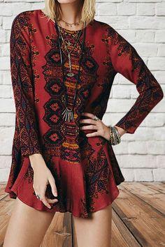 Long Sleeve Hollow Back Bohemian Dress