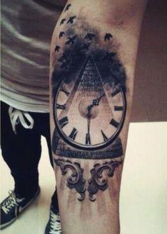 Time clock pyramid tattoo: