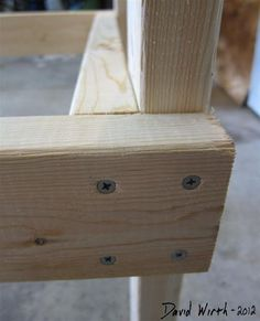 the best way to fit 2x4 at corner, screw, wood, shelf, end, no glue - http://davewirth.blogspot.com/2012/10/how-to-build-garage-shelves.html