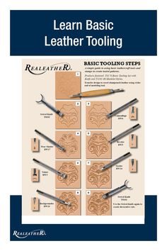 Basic Tooling Steps Basic Tooling Steps Learn about the basics of tooling leather with this step-by-step guide. Leather Stamps, Leather Art, Sewing Leather, Leather Gifts, Custom Leather, Leather Tooling, Tooled Leather, Leather Totes, Leather Purses