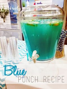 This punch is perfect for a baby shower, beach party, or birthday party. Click for recipe. Fun party drink recipe.