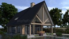 schuurwoning tuinzijde met vijver Modern Family House, Style At Home, Tiny House, Gazebo, Villa, New Homes, Barn, Outdoor Structures, House Design